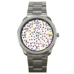 Paw Prints Dog Cat Color Rainbow Animals Sport Metal Watch by Mariart