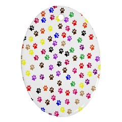 Paw Prints Dog Cat Color Rainbow Animals Oval Ornament (two Sides) by Mariart