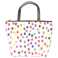 Paw Prints Dog Cat Color Rainbow Animals Bucket Bags by Mariart