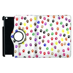 Paw Prints Dog Cat Color Rainbow Animals Apple Ipad 3/4 Flip 360 Case by Mariart