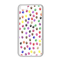 Paw Prints Dog Cat Color Rainbow Animals Apple Iphone 5c Seamless Case (white) by Mariart