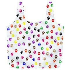 Paw Prints Dog Cat Color Rainbow Animals Full Print Recycle Bags (l)  by Mariart