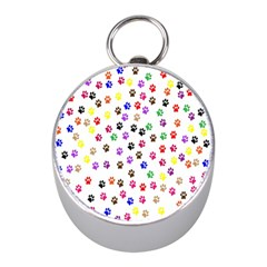 Paw Prints Dog Cat Color Rainbow Animals Mini Silver Compasses by Mariart