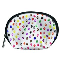 Paw Prints Dog Cat Color Rainbow Animals Accessory Pouches (medium)  by Mariart