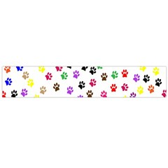 Paw Prints Dog Cat Color Rainbow Animals Flano Scarf (large) by Mariart