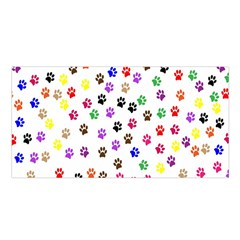 Paw Prints Dog Cat Color Rainbow Animals Satin Shawl by Mariart