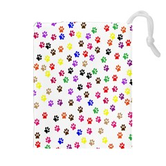 Paw Prints Dog Cat Color Rainbow Animals Drawstring Pouches (extra Large) by Mariart