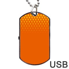Orange Star Space Dog Tag Usb Flash (two Sides) by Mariart