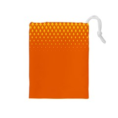 Orange Star Space Drawstring Pouches (medium)  by Mariart