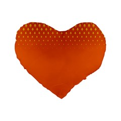 Orange Star Space Standard 16  Premium Flano Heart Shape Cushions by Mariart