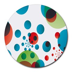 Polka Dot Circle Red Blue Green Round Mousepads by Mariart