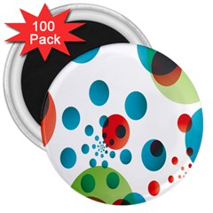 Polka Dot Circle Red Blue Green 3  Magnets (100 Pack) by Mariart