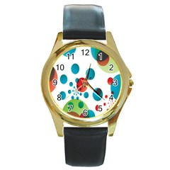 Polka Dot Circle Red Blue Green Round Gold Metal Watch by Mariart