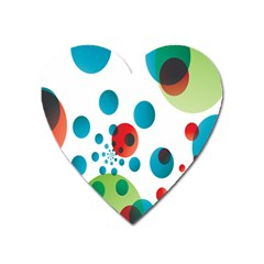 Polka Dot Circle Red Blue Green Heart Magnet by Mariart