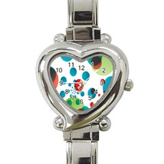 Polka Dot Circle Red Blue Green Heart Italian Charm Watch by Mariart