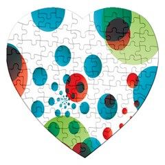 Polka Dot Circle Red Blue Green Jigsaw Puzzle (heart) by Mariart
