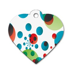 Polka Dot Circle Red Blue Green Dog Tag Heart (two Sides) by Mariart