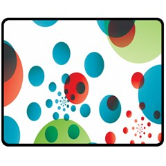 Polka Dot Circle Red Blue Green Fleece Blanket (medium)  by Mariart