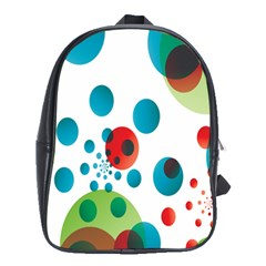 Polka Dot Circle Red Blue Green School Bags (xl)  by Mariart