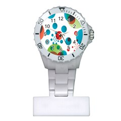 Polka Dot Circle Red Blue Green Plastic Nurses Watch by Mariart