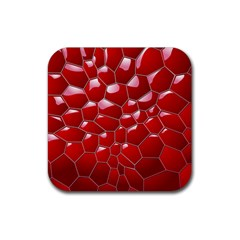 Plaid Iron Red Line Light Rubber Coaster (square)  by Mariart