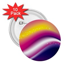 Rainbow Space Red Pink Purple Blue Yellow White Star 2 25  Buttons (10 Pack)