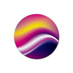 Rainbow Space Red Pink Purple Blue Yellow White Star Rubber Round Coaster (4 Pack)  by Mariart