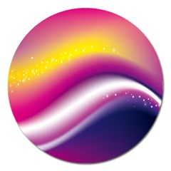 Rainbow Space Red Pink Purple Blue Yellow White Star Magnet 5  (round) by Mariart