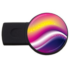 Rainbow Space Red Pink Purple Blue Yellow White Star Usb Flash Drive Round (2 Gb) by Mariart