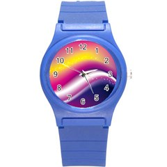 Rainbow Space Red Pink Purple Blue Yellow White Star Round Plastic Sport Watch (s)