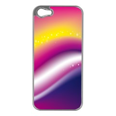 Rainbow Space Red Pink Purple Blue Yellow White Star Apple Iphone 5 Case (silver) by Mariart
