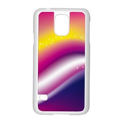Rainbow Space Red Pink Purple Blue Yellow White Star Samsung Galaxy S5 Case (white) by Mariart