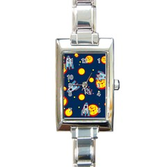 Rocket Ufo Moon Star Space Planet Blue Circle Rectangle Italian Charm Watch