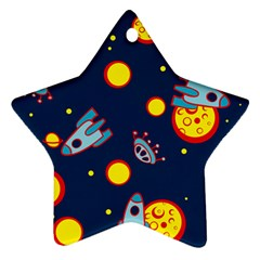 Rocket Ufo Moon Star Space Planet Blue Circle Ornament (star) by Mariart