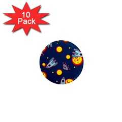 Rocket Ufo Moon Star Space Planet Blue Circle 1  Mini Magnet (10 Pack)  by Mariart