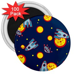 Rocket Ufo Moon Star Space Planet Blue Circle 3  Magnets (100 Pack) by Mariart
