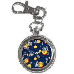 Rocket Ufo Moon Star Space Planet Blue Circle Key Chain Watches by Mariart