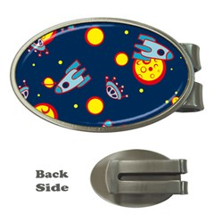 Rocket Ufo Moon Star Space Planet Blue Circle Money Clips (oval)  by Mariart