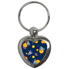 Rocket Ufo Moon Star Space Planet Blue Circle Key Chains (heart)  by Mariart
