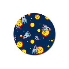 Rocket Ufo Moon Star Space Planet Blue Circle Magnet 3  (round) by Mariart