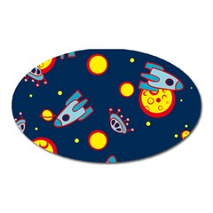 Rocket Ufo Moon Star Space Planet Blue Circle Oval Magnet by Mariart