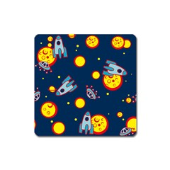 Rocket Ufo Moon Star Space Planet Blue Circle Square Magnet by Mariart