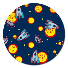 Rocket Ufo Moon Star Space Planet Blue Circle Magnet 5  (round) by Mariart