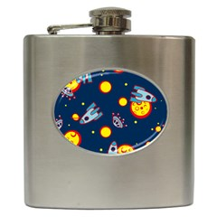 Rocket Ufo Moon Star Space Planet Blue Circle Hip Flask (6 Oz) by Mariart