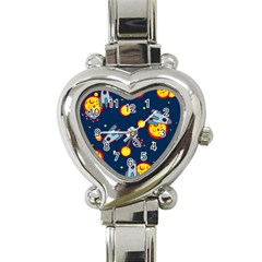 Rocket Ufo Moon Star Space Planet Blue Circle Heart Italian Charm Watch by Mariart