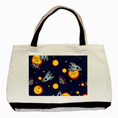 Rocket Ufo Moon Star Space Planet Blue Circle Basic Tote Bag (two Sides) by Mariart
