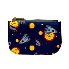 Rocket Ufo Moon Star Space Planet Blue Circle Mini Coin Purses by Mariart