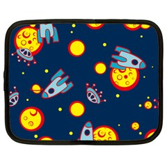 Rocket Ufo Moon Star Space Planet Blue Circle Netbook Case (xl)  by Mariart