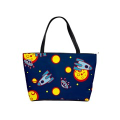 Rocket Ufo Moon Star Space Planet Blue Circle Shoulder Handbags by Mariart