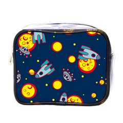 Rocket Ufo Moon Star Space Planet Blue Circle Mini Toiletries Bags by Mariart